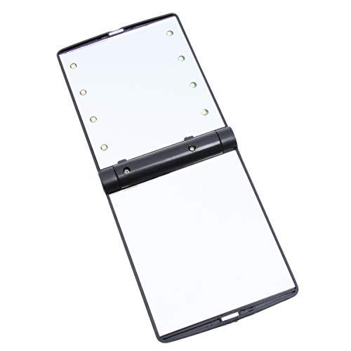 Minkissy Miroir Compact Miroir Cosmétique Led Éclairage Pliant Mini Miroir de Maquillage Portable Dessus de Table pour Une Fête de Voyage en Plein Air Noir