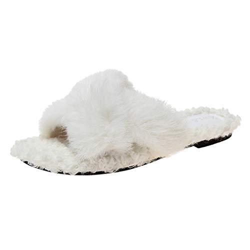 KERULA Damen Hausschuhe Flache Fluff Flip-Flops Badeschuhe Home Badelatschen rutschfest Slippers Pantoffeln Gartenschuhe Schlappen Slide Sandal Sandalen