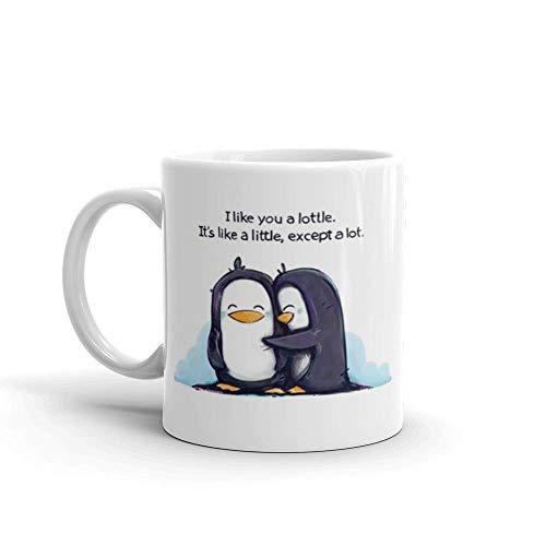 N\A Me Gustas Lottle Pingüinos de café de cerámica Taza Blanca - Taza de café y la Taza de té-Inspirada Regalo