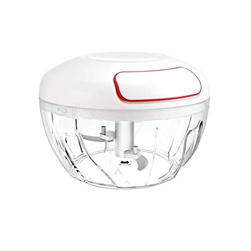 FEE-ZC Sicherheit Mini Hand Pull Food Chopper, manuelle Gemüsehackmaschine Grinder Knoblauchschneider Zwiebelschneider Edelstahl Klinge für Kartoffeln, Babynahrung Küche