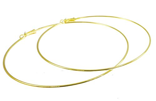 Mytoptrendz Thin Large Hoops Fashion Circle Hoop Earrings (Gold- 140mm)