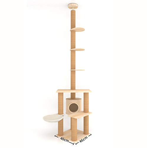 GBY Katzenklettergerüst Katzen-Greifpfosten Massivholz Import Kiefer Klauenpfosten durch den Himmelstamm Katzenspringende Plattform Katzenbaum Höhe 270-350 cm Katzen-Greifpfosten Durchmesser 9,6 cm