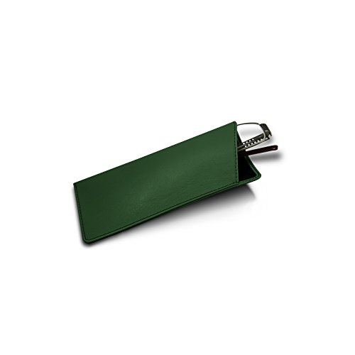 Lucrin - Custodie per occhiali sottili - Verde scuro - Pelle Liscia