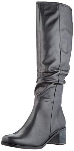 MARCO TOZZI Damen 2-2-25525-25 Leder Langschaftstiefel Kniehohe Stiefel, Black Antic, 37 EU