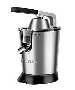 Taurus Easy Press Exprimidor eléctrico de Palanca de 160 W, 2 Conos para Todos los cítricos, 18/8 Acero Inoxidable y Filtro con regulador de Pulpa Ajustable, 650 ml, Plata y Negro