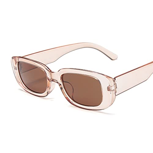 FDNFG Gafas de Sol Vintage rectángulo Gafas de Sol Mujeres Lentes de Lujo Gafas de Sol Marco pequeño diseñador de rectángulo conduciendo Gafas de Sol (Lenses Color : Champagne)