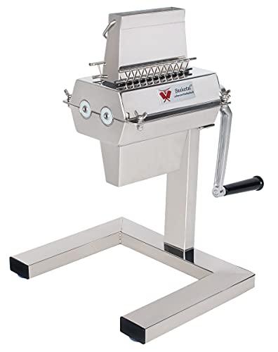 Beeketal \'BT-Silver125\' Profi Steaker Fleischzartmacher mit 2 Edelstahl Messerwalzen und leichtgängiger Handkurbel, Gastro Fleischstecher mit 11x2 Messerreihen für schnelles Steaken (HACCP konform)