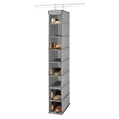 Whitmor Hanging Shoe Shelves - 8 Section - Closet Organizer - Grey