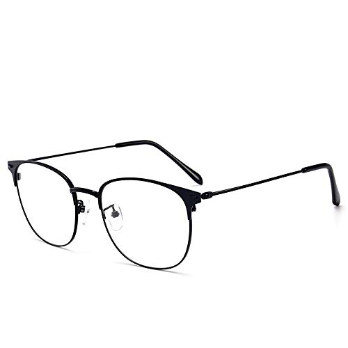 Blue Light Blocking Glasses Computer Reading Glasses Vintage Metal Frame Eyeglasses Clear Lens Filter UV Light Anti Fatigue Lightweight Professional for Men Women (Black)