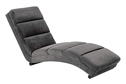 SalesFever Relaxliege mit Samt Bezug und schwarzem Gestell Sento Grau