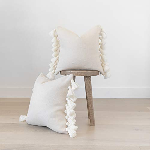 Woven Nook Decorative Throw Pillow Covers ONLY for Couch, Sofa, or Bed Set of 2 18 x 18 inch Modern Quality Design 100% Cotton Thick Woven Tassel Pom Pom All White