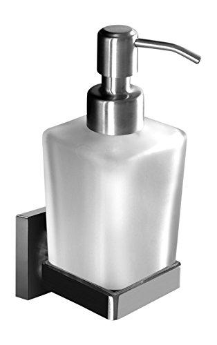 Ambrosya® | Exklusiver Seifenspender aus Edelstahl | Bad Badezimmer Glas Halter Halterung Seife Seifenhalter Seifenhalterung Seifenschale Spender Toilette Wand WC (Edelstahl (Gebürstet))