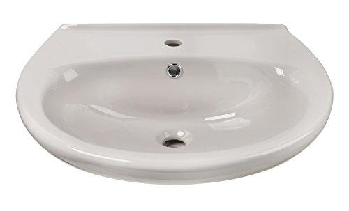 'aquaSu® Waschtisch | Waschbecken | Manhattan | 60 cm | Grau | Handwaschbecken | Badezimmer | Bad | Keramik | Nostalgie | Mit Überlaufschutz