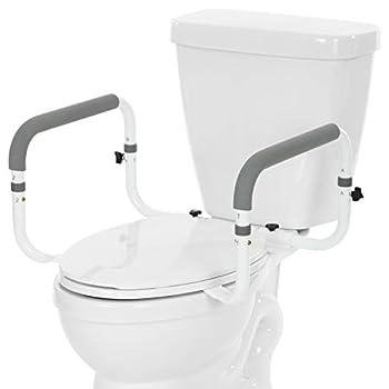 Vive Toilet Safety Rail - Adjustable Grab Bar - Compact Support Frame with Handrail for Bathroom Toilet Seat - Easy Installation for Handicap Senior Bariatrics Elderly Balance - Padded Hand Armrest