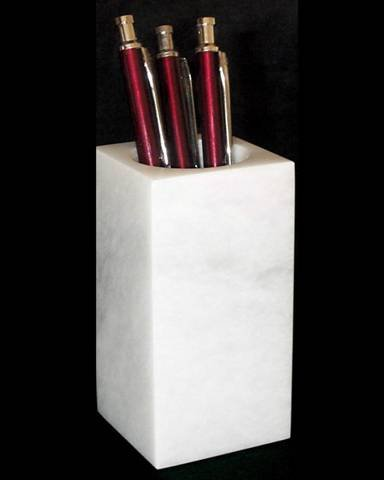 Decorative White Marble Pencil Holder, Stone Pen Cup for Desk, Home or Office