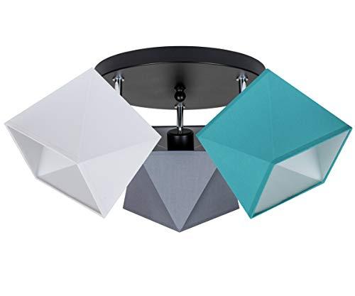 Deckenlampe Deckenleuchte HausLeuchten WEGRTU-PR3030SC Leuchte Lampe 3 Lampenschirme Wohnzimmerlampe Schlafzimmerlampe Küche Kinderzimmer Lampe LED (Weiß – Grau – Türkis)