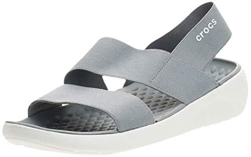 Crocs Literide Stretch Sandal Women, Sandalias de Punta Descubierta para Mujer, Gris (Light Grey/White 00j), 39/40 EU