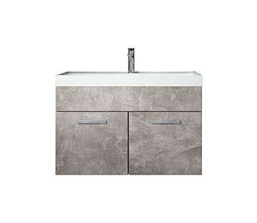 Badezimmer Badmöbel Set Paso 01 80 cm Waschbecken Beton (grau) - Unterschrank Schrank Waschbecken Waschtisch
