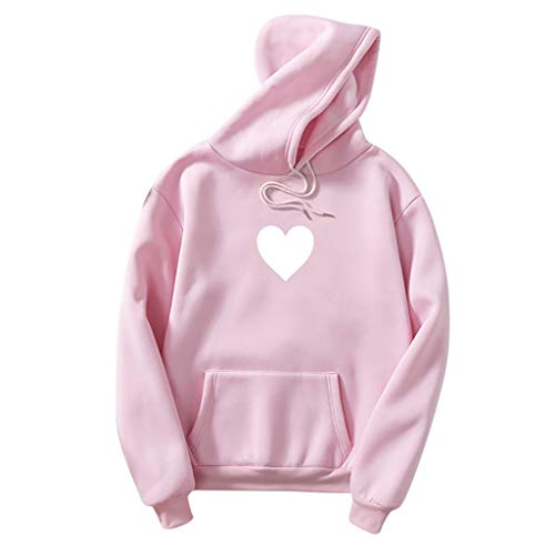 EDC Women's Heart Graphic Print Hooded Sweatshirt with Pockets Couples Hoodies for Boyfriend and...
