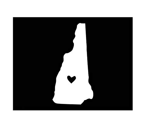 New Hampshire with Heart Vinyl Decal | White | Made in USA by Foxtail Decals | for Car Windows, Tablets, Laptops, Water Bottles, etc. | 2.3 x 4.5 inch
