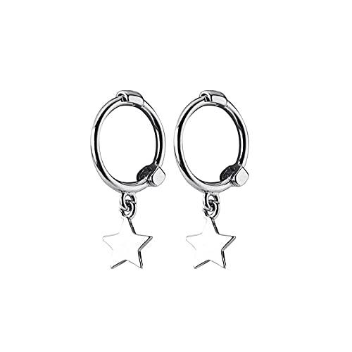 Exquisitos pendientes de aro de estrellas de plata diminutas para mujer pendientes de aros redondos de plata de ley 925 auténtica joyería de moda