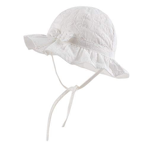 Pesaat Sombrero de verano para bebé, niña, 100 % algodón, con silbato y bordado para primavera y verano Blanco S