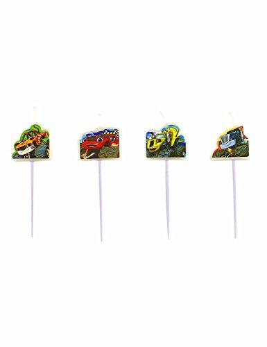Amscan- Set di 4 candele Pics Blaze e i Monster Machine, 9901364, multicolore