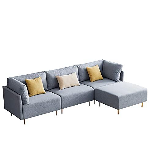 jeerbly Sofá esquinero, sofá en forma de L, tela de poliéster, sofás de 3 plazas con reposapiés esquinero, sofá de salón, lado izquierdo y derecho para sala de estar, sala de recepción