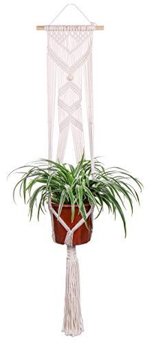 Luxbon Makrame Bloemenampel Wandbehang Katoenen koord Plantenbakken Plantenhangers Tapijt voor plafonds Balkons Wanddecoratie 41 inch