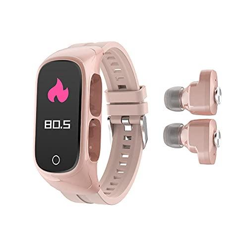 Yumanluo Smartwatch Impermeable,Auriculares Bluetooth Dos en uno, Control de Foto de presión Arterial de frecuencia cardíaca-Rosa,Monitores de Actividad,Fitness Tracker