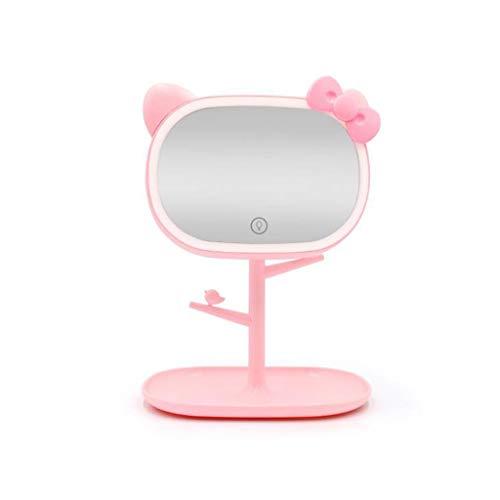 Tafelmake-upspiegel, ovale spiegel, 2-in-1 tafellamp, dimbaar, met oplaadbare USB-touchscreen roze
