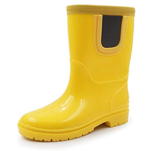 Amoji Kid Rain Chelsea Boots Rubber Wellies Kids Children Waterproof Boots Children Baby Child Infant Girl Boy Toddler Outdoor Easy On JT28 Yellow 5-5.5 Toddler