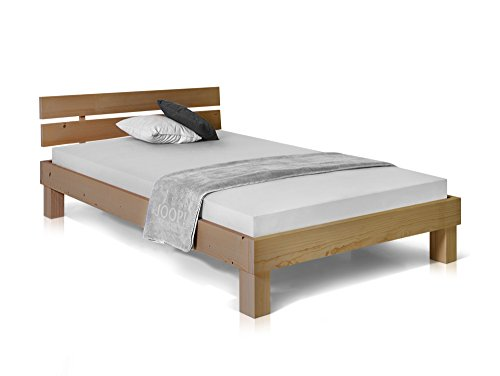 Massivholzbett Pumba Holzbett Doppelbett, Material Massivholz, Made in Germany, 120x200 cm, eichefarbig