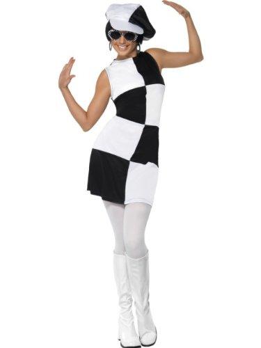 Smiffys Costume femme party girl des années 60, noir et blanc, avec robe et chapeau M