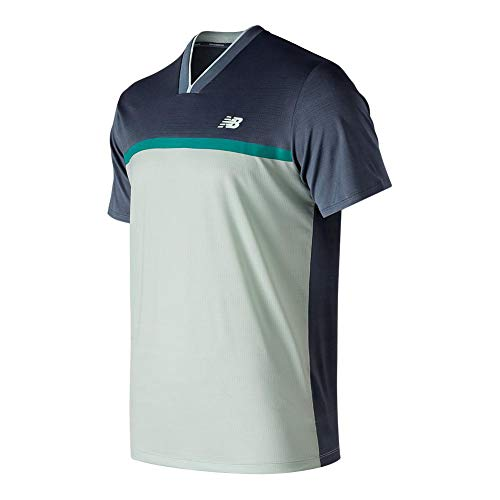 New Balance - Camiseta para Hombre, Color Gris, Blanco,...