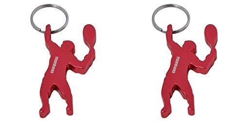 munkees 2 x Schlüsselanhänger Tennis-Figur Flaschenöffner, Sport-Fans, Dopplepack Rot, 349249