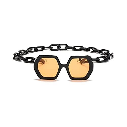 Gafas de Sol para Mujer Fashion Punk Square Gafas de Sol Mujeres Vintage Cadena única Polígono Polígono Gafas de Sol Mujeres Sombras Grande UV400 Gafas (Lenses Color : Black Yellow)
