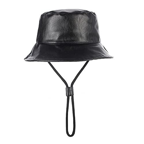 GEMVIE Sombrero de Pescador con Parte Superior Plana Sombrero de Cuero Gorra del Sol para Niños y Niñas