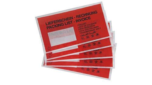 1000 rote Lieferscheintaschen | Begleitpapiertasche DIN lang Format (240 x 130 mm) | bedruckt in 9 Sprachen selbstklebend
