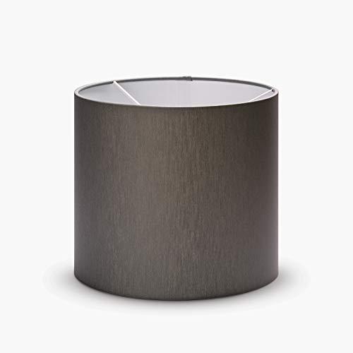 Pantalla de tela para lámpara E27, fabricada en Europa, 20 cm, 25 cm, pantalla de tela redonda, color blanco, marrón y gris, 20 x 18 cm