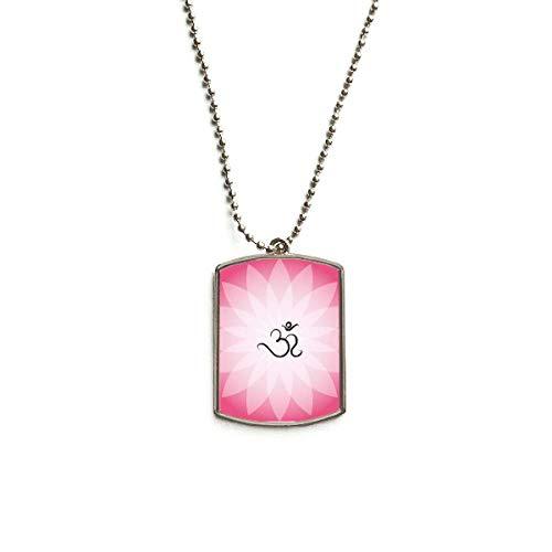 QQJSY Halskette mit Anhänger Buddhismus Pink Lotus Sanskrit Muster Edelstahl Dog Tag