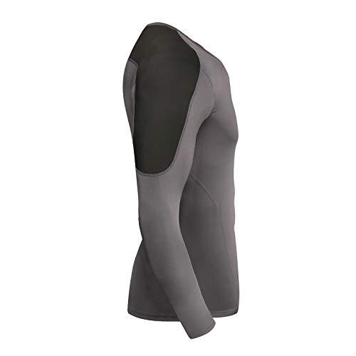 AMZSPORT Herren Kompressionsshirt Atmungsaktiv Langarm Funktionsshirts Schnell Trocknend Sportshirt Laufshirt, Grau Schwarz S - 2