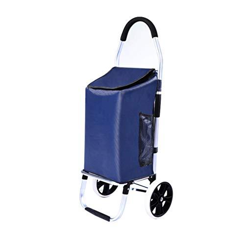 Einkaufstrolleys Alte Leute Kaufen Nahrungsmittelwagen Aluminiumwarenkorb Reisewageneinkaufstasche Leichten Anhänger des Haushalts, Lager Über 40KG Laufkatzen (Color : Blue, Size : 33 * 24 * 103cm)