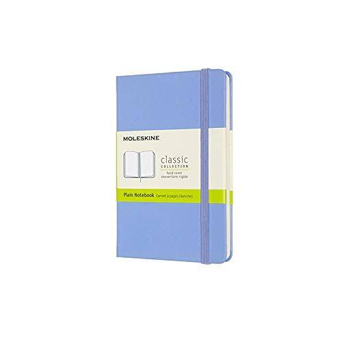 Moleskine - Cuaderno Clásico con Hojas en Blanco, Tapa Dura y Cierre con Goma Elástica, Tamaño de Bolsillo 9 x 14 cm, Color Azul Hortensia, 192 páginas
