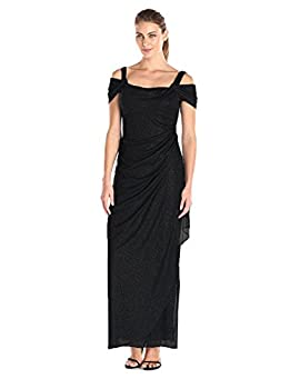 Alex Evenings Women s Long Cold Shoulder Dress  Petite and Regular Sizes  Black Glitter 14