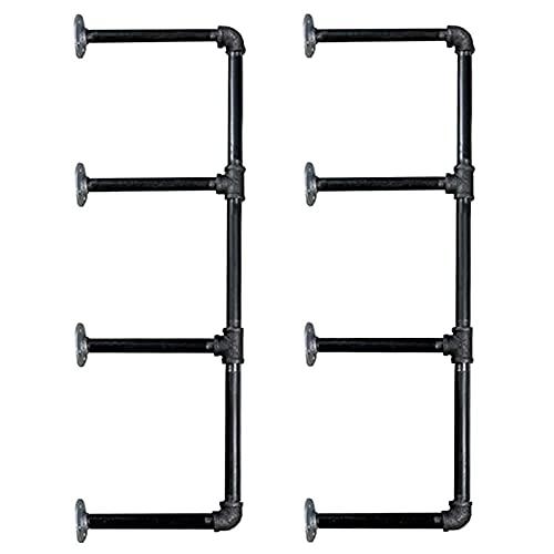 YUNYI 3 Layers Pipe Bracket (2 Sets Black) - Industrial DIY Pipe Shelf Bracket for Wood Floating Shelf Vintage Look, Flange Bracket Iron,∅1inch