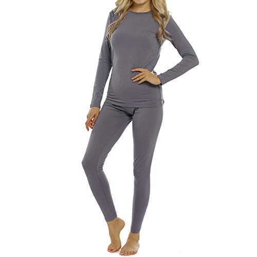 Womens Thermal Underwear Set Long Johns with Fleece Lined Ultra Soft Top & Bottom Base Layer Thermals for Women Gray