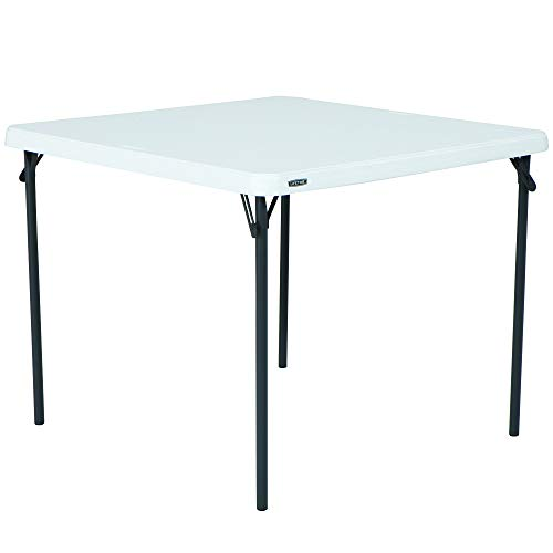 LIFETIME 80783 37-Inch Commercial Grade Square Folding Card Table, White Granite