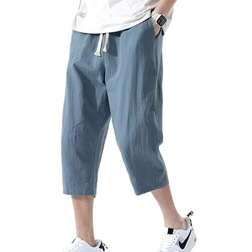 N\P Men's Cropped Trousers Loose Trousers Lake Blue