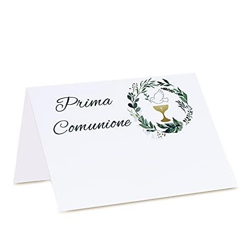 MKISHINE 40PCS Segnaposto per Prima Comunione,Segnaposto in Cartone Spesso 300g,Segna Tavoli Semplice da Scrivere e Piegare per Il Matrimonio Battesimo Comunione Festa Compleanno